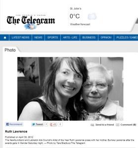 Ruth and Burnsie at Arts Awards Telegram