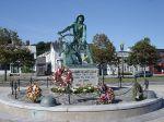 Man at the wheel memorial sculpture